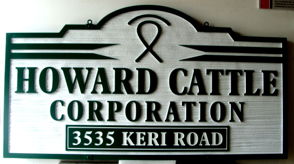 "O24108 - Carved and Sandblasted Cattle Ranch Entrance Sign, ""Howard Cattle Ranch Corporation"""