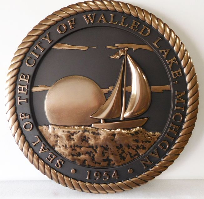 M7024 - Bronze-coated 3D Carved HDU Plaque of the Seal of the City of Walled Lake., with Sailboat as Artwork