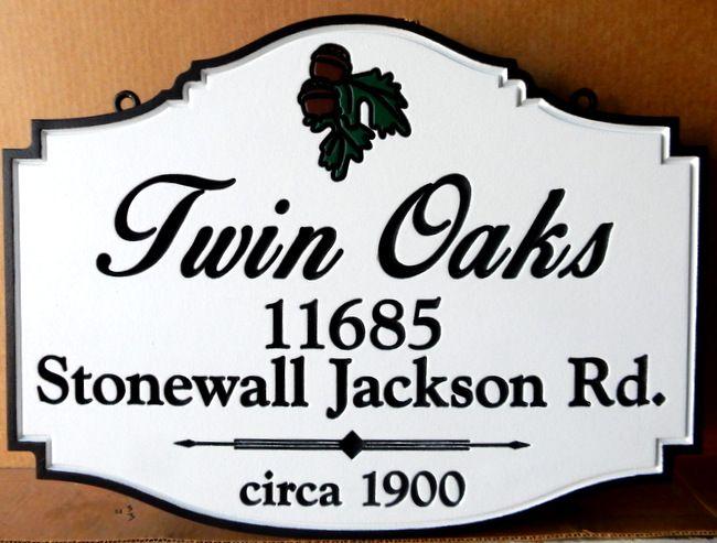 I18333 - Elegant Engraved Residence Name and Address Sign, with Carved Oak Leaf and Acorn Cluster