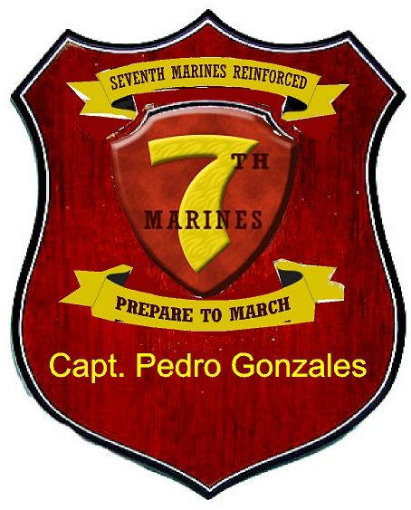KP-3020 -  Carved Personalized Shield Plaque, Seventh Division Marines, Mahogany Wood