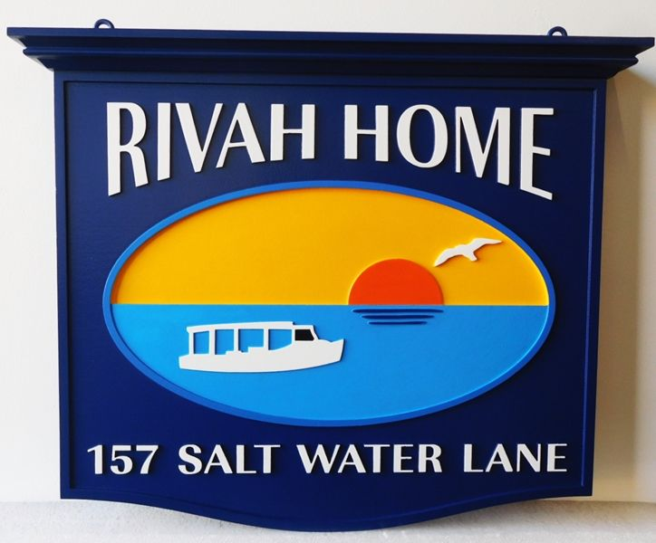 """L21463 - Carved Coastal Home Name Sign , """"Rivah Home"""", features the ocean, a Setting Sun, Seagull, and a Stylized Boat as Art"""
