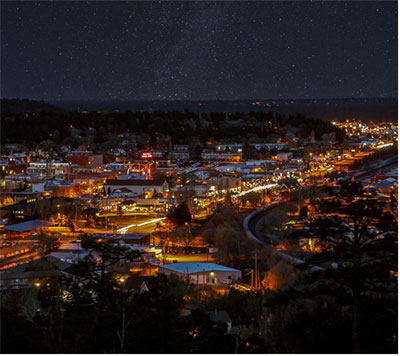 Flagstaff, Arizona uses narrow-band amber lighting to protect its dark night sky.