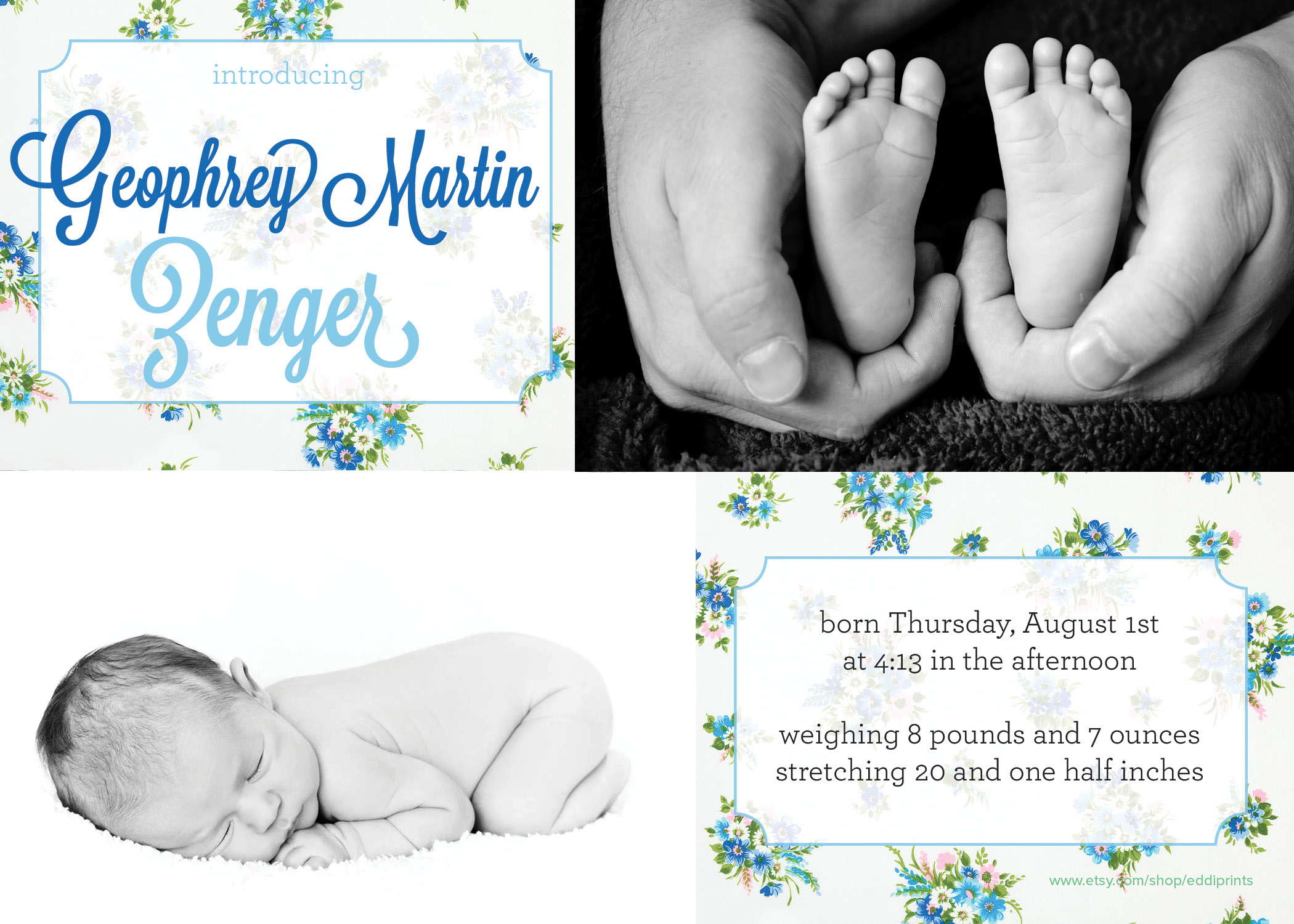 Birth Annoucement Blue Flowers