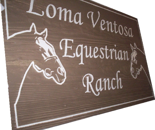 M3104 - Painted Sandblasted Redwood Sign for an Equestrian Ranch, with a Horse Head  (Gallery 24)