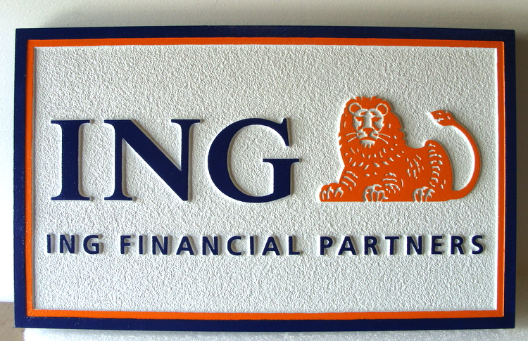 "C12209 - Sandblasted HDU Sign for a Bank ""ING"""