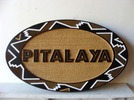 M1284 - Rustic Sandblasted Sign with Native American Border Design (Galleries 28A and 23)