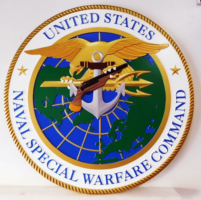 JP-1770 - Carved Plaque of Seal/CrestSeal of the US Navy's Special Warfare Command, Artist Painted