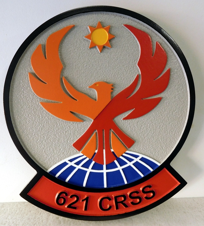 LP-3100 - Carved Round Plaque of the Crest of the 621st Contingency Response Group