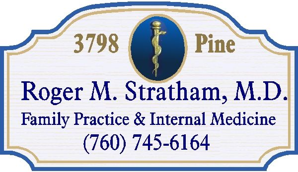 B11012 - Medical Doctor/Physician Carved Wood Address Sign