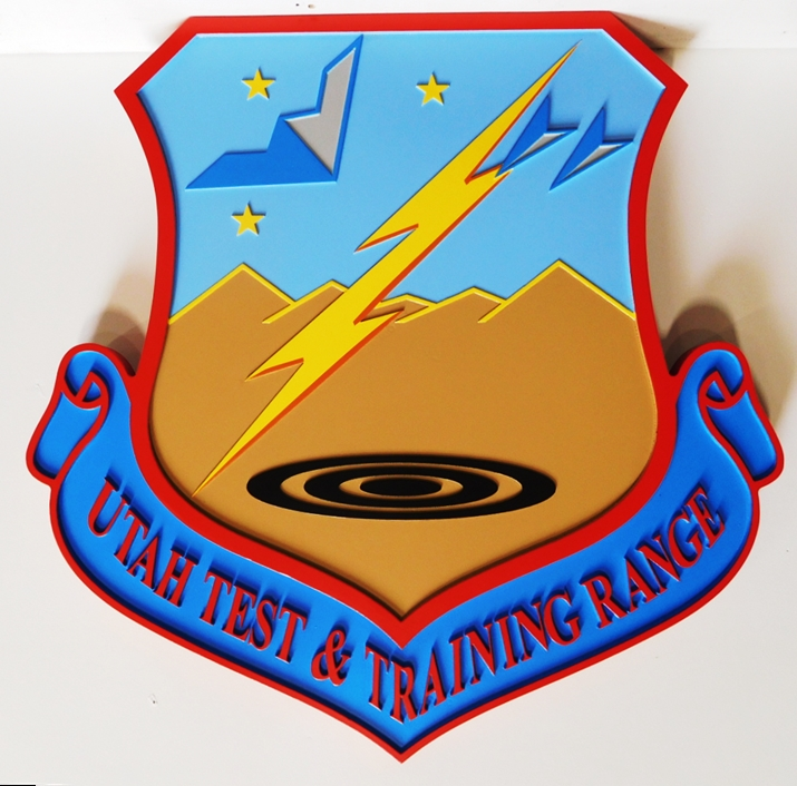 LP-3035- Carved Plaque of the Shield Crest of the Utah Test and Training Range, 2.5-D Artist Painted