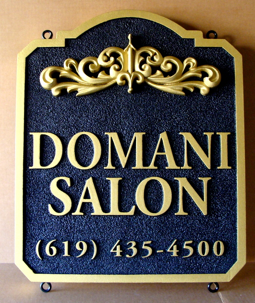 M1148 - Elegant 3-D Carved Plaque for Domani Salon, in Black & Gold