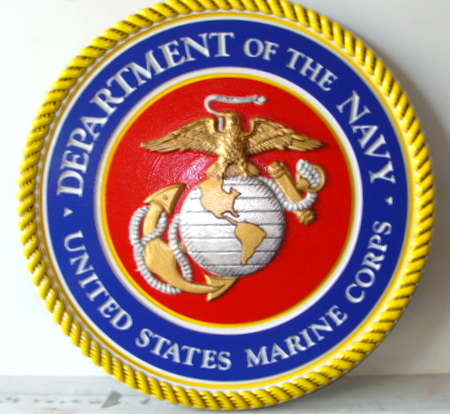V31403 - US Marine Corps  Seal/Crest, Carved HDU, Gold and Silver Leaf Gilded
