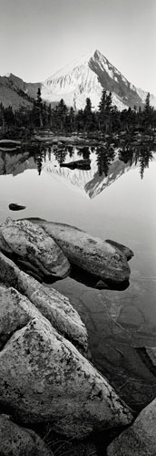 "Arrow Peak Over Bench Lake,, Archival Ink Pigment Print, 30"" x 10"""