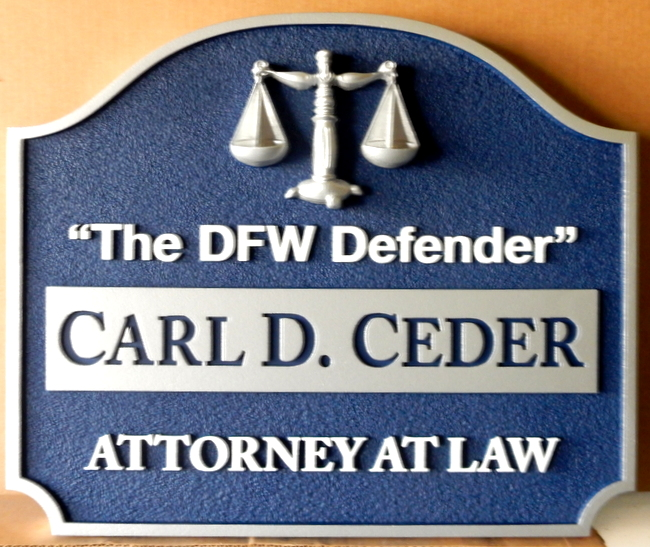 A10061- Attorney-at-Law Sign with 3- D Scales of Justice
