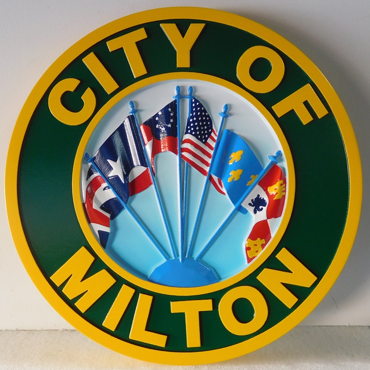 X33096 - 3-D Carved  HDU  Plaque of the Seal of the City of Milton (with Multi-national Flags)