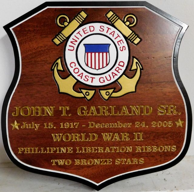 NP-2810 - Carved Shield Memorial Name Plaque  for  US Coast Guardsman,  Mahogany Wood  and Artist Painted