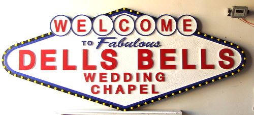 M5010 - Carved HDU Dells Bells Wedding Chapel Sign, Las Vegas Style
