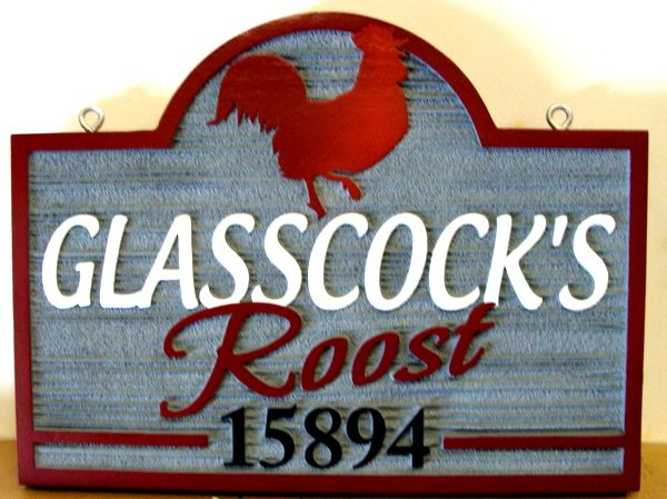 "O24454 - Sandblasted HDU Address Sign for Poultry Farm,""Glasscock's Roost"""