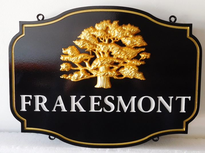 "I18317 - Property Name  Sign, for a Residence (""Frakesmont""), with  24K Gold-Leaf Tree as  Artwork"