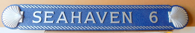 "L21862 - Carved Quarterboard Beach House Sign ""Seahaven"" with Carved 3D Shells"