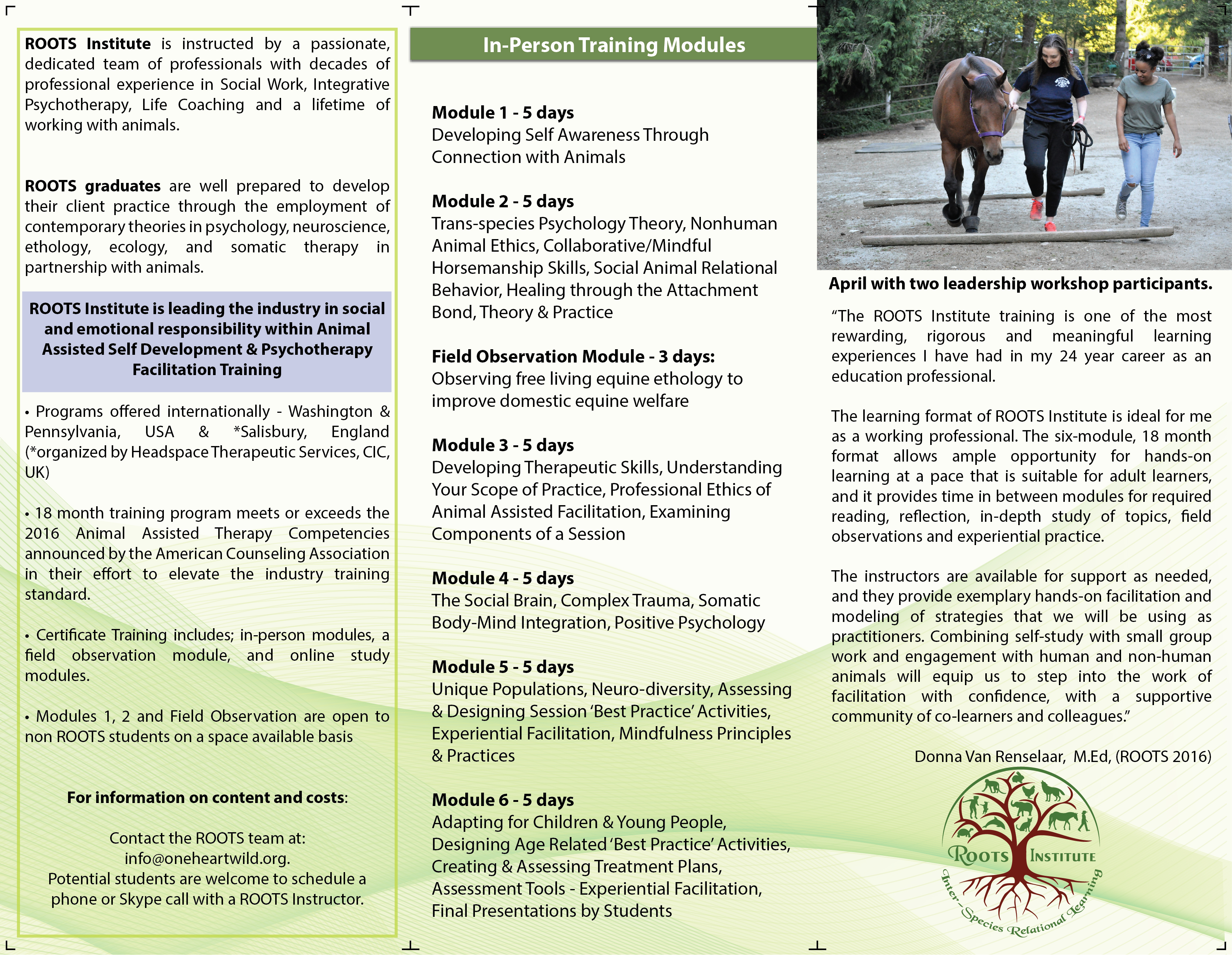 Roots institute inter species animal assisted equine assisted roots brochure inside xflitez Image collections