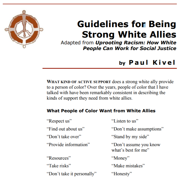 Guidelines for Being Strong White Allies