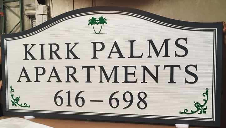 "K20350 - Carved HDU Entrance Sign for the ""Kirk Palms Apartments"" ,  with Wood Grain Sandblasted Background"