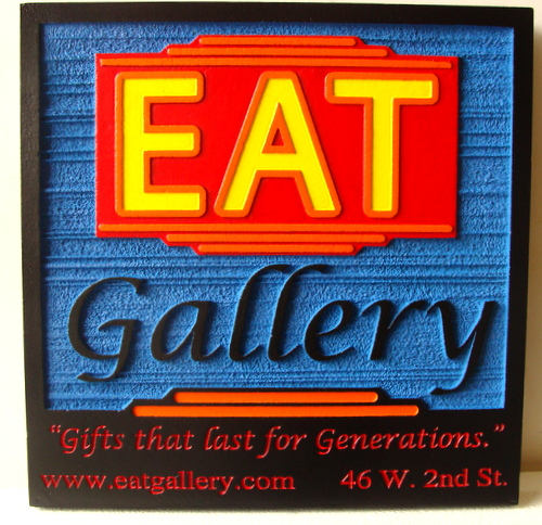 SA28341 - Colorful, Wood-Look Sign for Restaurant and Gift Shop with Website and Address