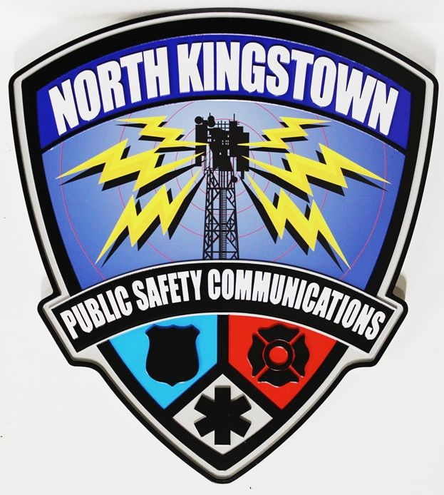 QP-2120 -   Carved and Artist-Painted Plaque of  the Shoulder Patch of the Public Safety Communications Department of North Kingston, Rhode Island