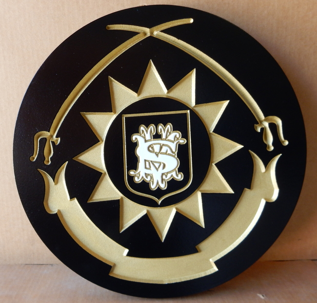 N23362- Carved and Engraved High-Density-Urethane  Wall Plaque featuring a Coat-of-Arms with Two Curved Swords