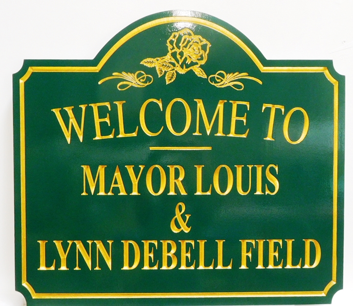 F15580  - Carved Engraved  Entrance Sign for the Mayor Louis & Lynn Debell Field,  2.5-D Artist-Painted