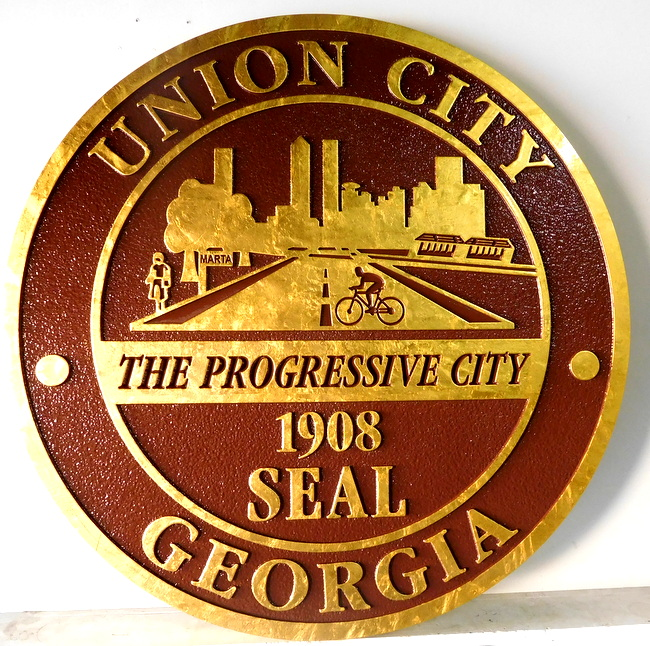 X33219 - Carved and Sandblasted HDU  Wall Plaque of Seal of Union City , Georgia, with 24K Gold-Leaf Gilding