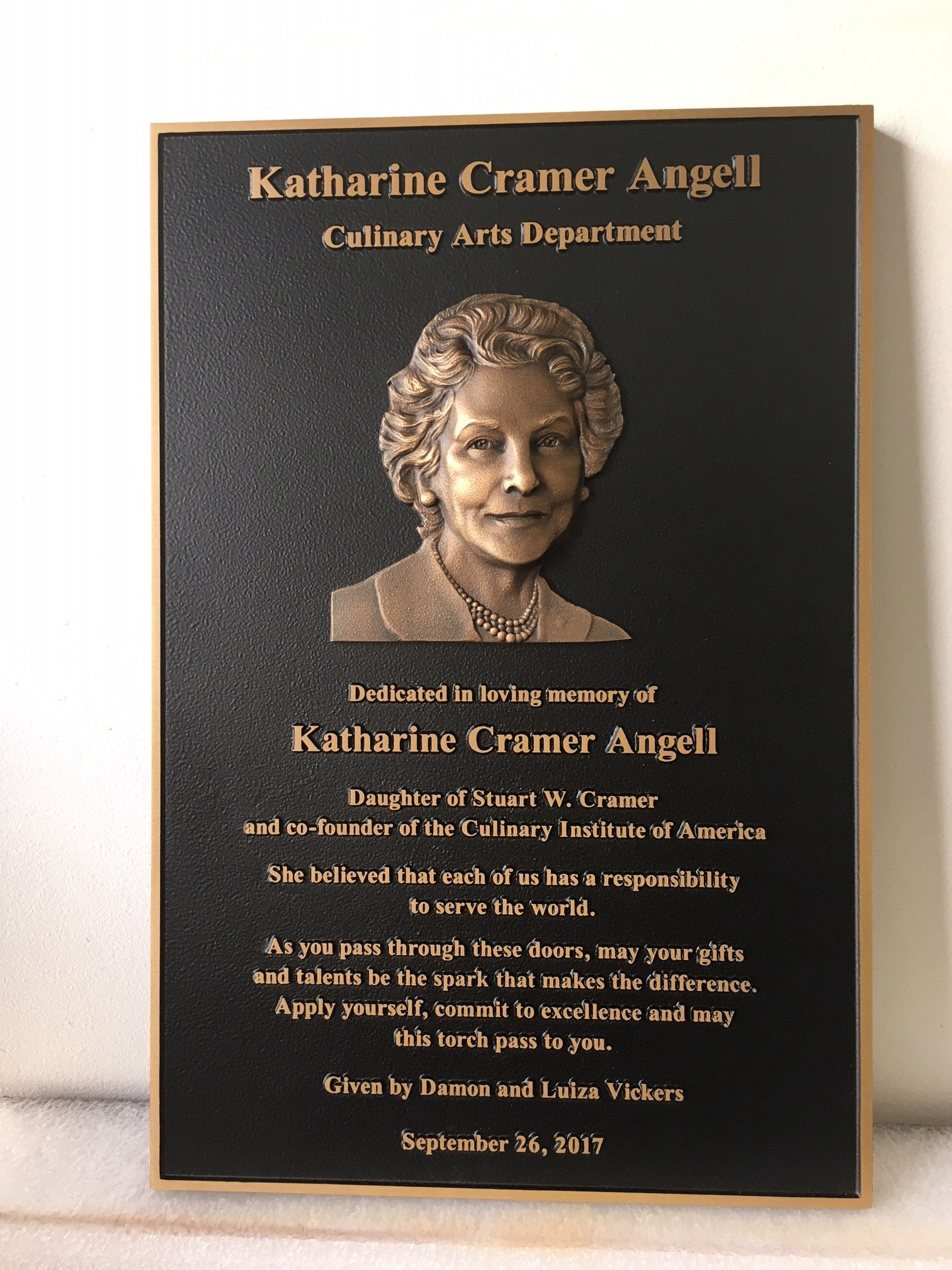N30504 - Cast Bronze 3-D Bas Relief Memorial Wall Plaque of Woman's Face, Honoring Katherine Angell, Culinary Art Institute