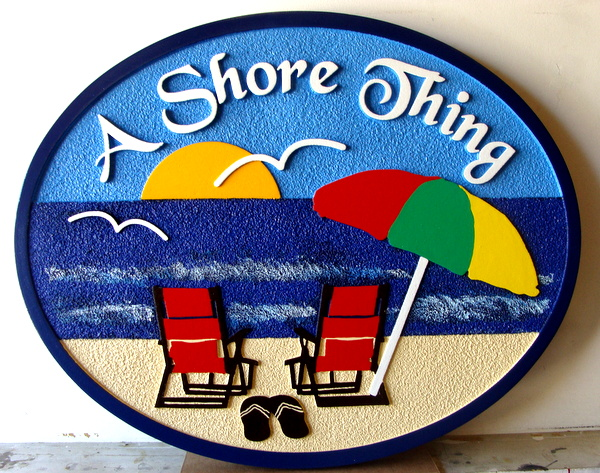 "L21004 - Carved Beach Residence Sign, with Two Empty Chairs, and Setting Sun ""A Shore Thing"""