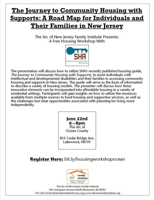 Free Housing Workshop: The Journey to Community Housing with Supports (Ocean County)