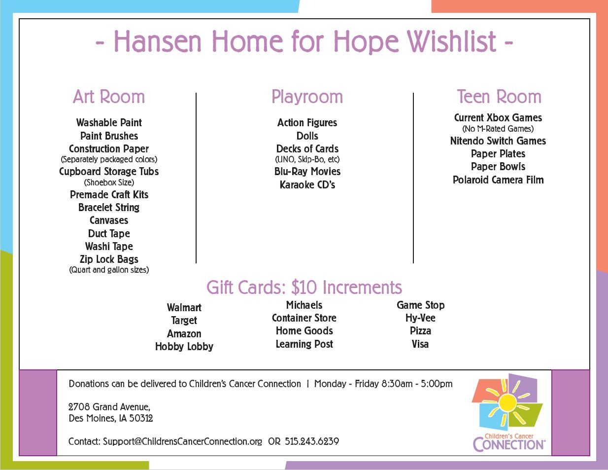 Hansen Home for Hope Wish List