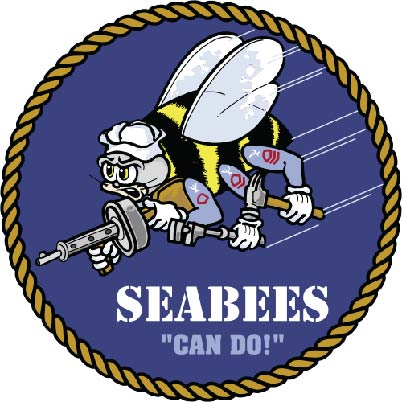 "JP-2240 - Carved Plaque of Seabees Logo ""Can Do"", Artist Painted"