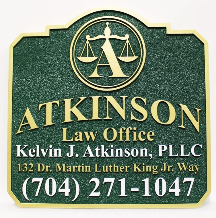 A10515 -  Carved 2.5-D and Sandblasted HDU Name and Address Sign for the Atkinson Law Office