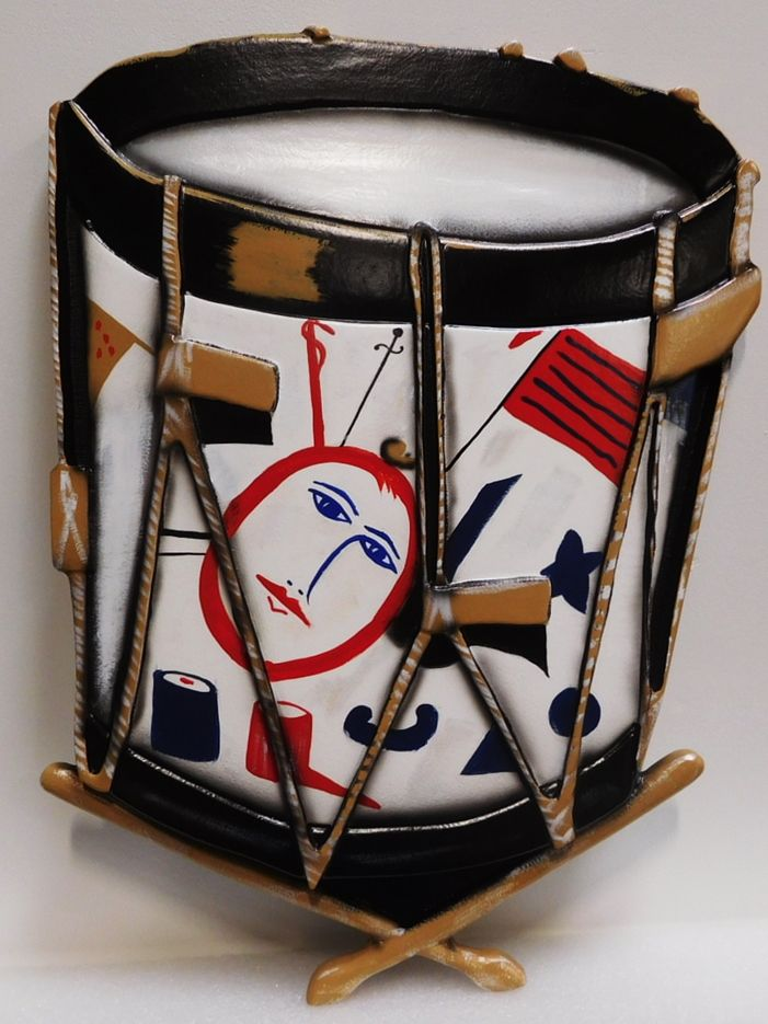 SA28361 -  Carved Artist-painted Replica of a Revolutionary War Drum for a Sign
