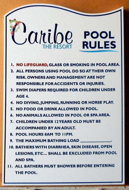 GB16260 - Engraved HDU Sign with  Swimming Pool Rules for Caribe Resort
