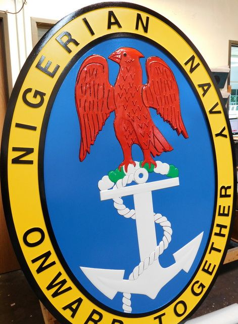 V32000 -  Large Carved Wall Plaque for the Nigerian Navy,