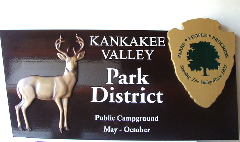 G16208 - Carved Wood Regional Park and Campground Sign with Carved Deer