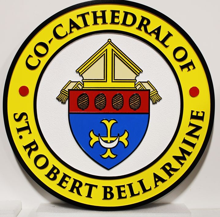 D13142 - Carved 2.5-D  HDU Wall Plaque  of the Seal for  the Co-Cathedral of St. Robert Bellarmine