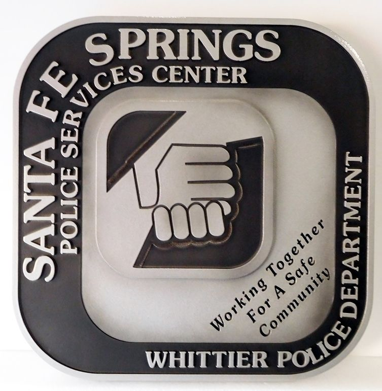PP-3240 -  Carved Wall Plaque of the Seal of the Whittier Police Department, Santa Fe Police Service Center, California,  Artist Painted