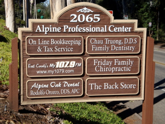 "S28035 - Carved and Sandblasted HDU ""Alpine Professional Center""  Directory , with Six Replaceable Signs"