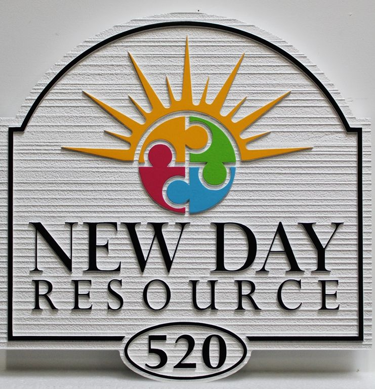 "FA15945 - Carved and Sandblasted Wood Grain HDU Address Sign for ""New Day Resource"" School"