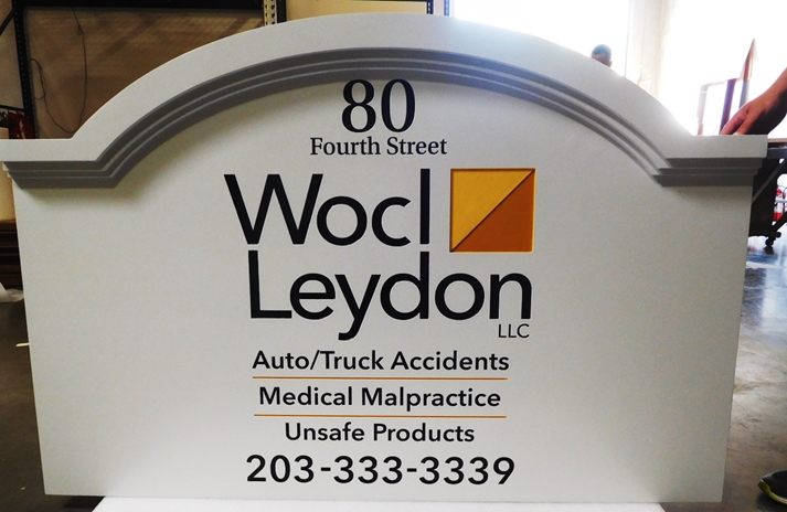 "A10158 - Engraved  Entrance Sign for ""Wocl & Leydon"" Law Office,"