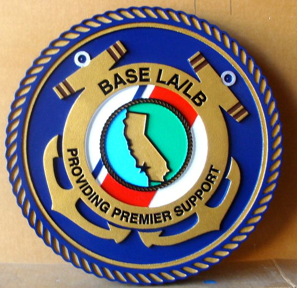 NP-2060- Carved Plaque  of Seal of US Coast Guard  Base LA/LB Support, Artist Painted