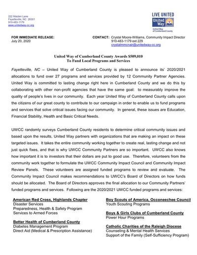 UNITED WAY OF CUMBERLAND COUNTY AWARDS $509,010 TO FUND LOCAL PROGRAMS AND SERVICES