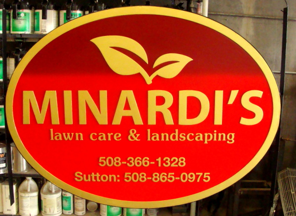 """SA28658 - Carved 2.5-D  Sign for """"Minardi's Lawncare and Landscaping"""" with Leaf Logo as Artwork"""